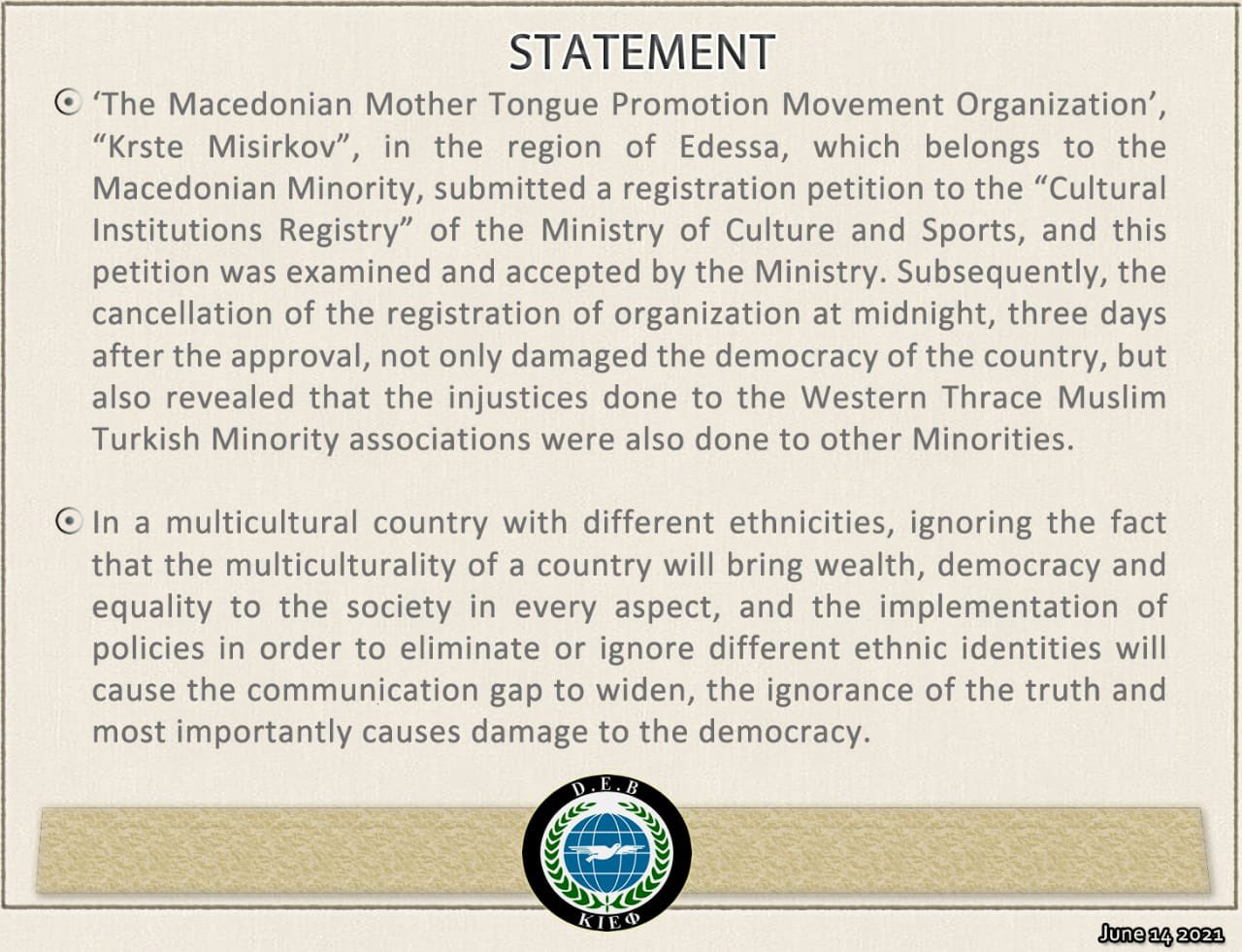 Press Release: the Oppression of Minorities within Greece
